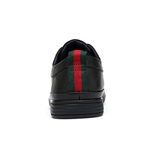 Abby 1681 Mens Dernière Mode Décontractée Pompe Bout Rond Slip Sur Cuir Skateboard-chaussures Noir (cuir)