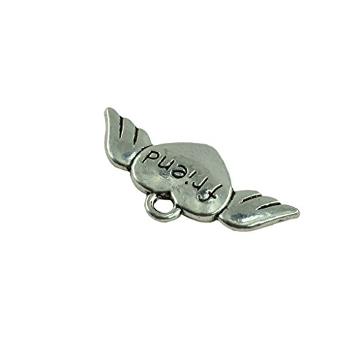 MonkeyJack 30Pcs Charm Cute Tibetan Silver Alloy Angel Wings Flying Sweet Heart DIY Jewelry Pendant with Friend Letters for Halloween ()
