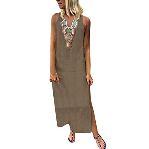 - PENGYGY Woman Printed Sleeveless Skirt Casual V-Neck Maxi Dress Ladies Split Hem Baggy Long Dress Khaki
