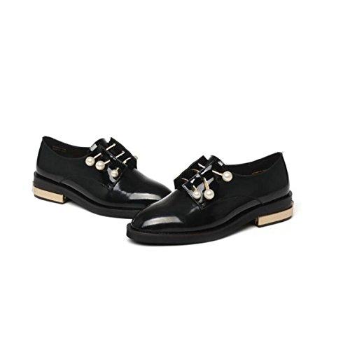 Version Black GRRONG Tide Leather Bottom Pearl 's Thick Soft Leather Women Shoes Korean ZZCqwxP