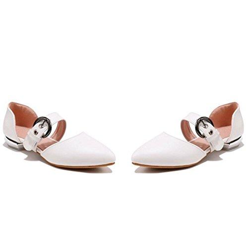 TAOFFEN Mujer Comodo Plano Sandalias Hebilla Cerrado Verano Colegio Zapatos Blanco