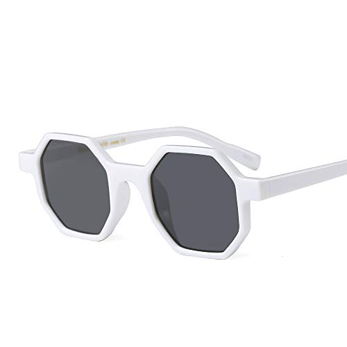 (Hexagonal Sunglasses for Men Women Vintage Retro Plastic Octagon Geometric Frame (White, 46))