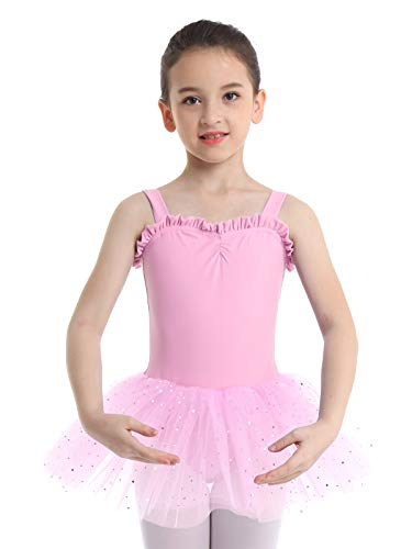 iiniim Kids Girls Shimmering Ballet Dance Tutu Dress Shoulder Straps Gymnastic Leotard Fairy Dress up Costumes Pink 5-6]()