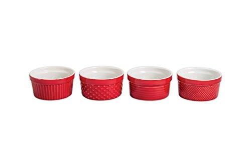 25+767KS4SIOC Textured Bakeware Ramekin Dish, Red/White (Bia Cordon Bleu Stoneware Bowls)