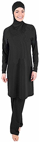 YEESAM® Modest Lady's Full Length Beachwear Islamic Swimsuit - Solid Color (Int'l - XXL, Black)