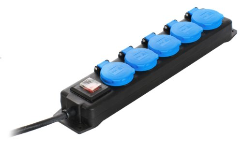 as - Schwabe Verteilersteckdose 5-fach, 4,5m Gummischlauchleitung H07RN-F 3G1,5, IP44 Aussenbereich, 38605
