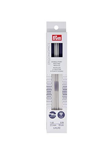 Prym Ergonomics 8-Inch Double-Point Knitting Needle, Size 1 (5-Pack)