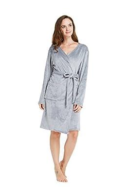 TIMSOPHIA Firecos Soft Robes for Women, Velour Texture Lightweight Bath Robe Fleece Robe Knee Length