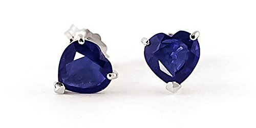 14k Solid White, Yellow, Rose Gold Stud Earrings with 3.1 Carat (CTW) Heart Natural Blue Sapphire (white-gold)