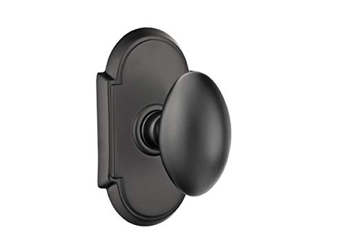 Emtek Privacy Set, Style 8 Rosette, Egg Knob, Flat Black US19 ()