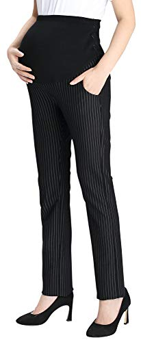 (Foucome Womens Maternity Bootcut Stretch Career Dress Pants Work Office Over-Bump Trousers Black Stripes)