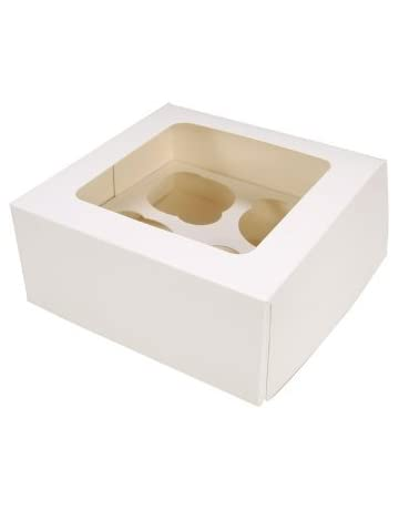 Cajas para cupcakes, 4 agujeros, 25 unidades, blancas