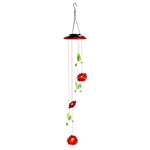 Meadow Creek Color Changing Solar Mobile with Glass Topper Hummingbirds and Flowers, 24-Inch by Meadow Creek