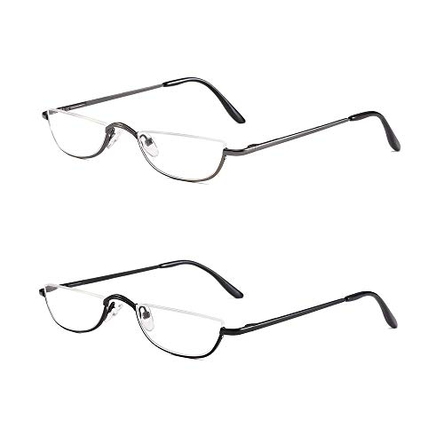 Half Frame Reading Glasses Set of 2 Pairs Half Rim Metal Frame Glasses Spring Hinge Readers with Leather Pouch for Men and Women, 1.50 Strength ()