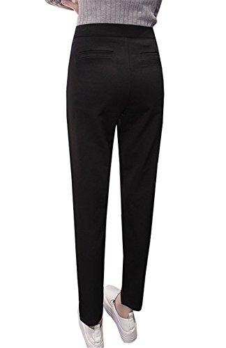 DaBag Pantalone a Sigaretta Largo 7/8 Pantalone Harem Vita Alta Relaxed Nero Donna Pantaloni Formale Straight Slim eleganti Ragazzi Pants Casual Classici Business