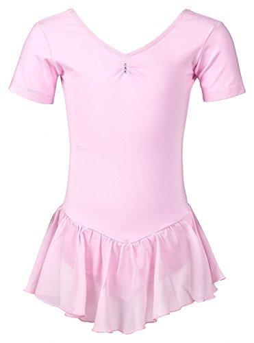 tanzmuster Kinder Kurzarm Ballettanzug Ballett Trikot Betty mit Chiffon Röckchen. Edles Ballettkleid mit Strass Applikation am Ausschnitt in rosa, Größe:104/110