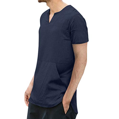 Benficial Men's Baggy Cotton Linen Solid Color Pocket Short Sleeve T Shirts Tops Blouses 2019 Summer Navy