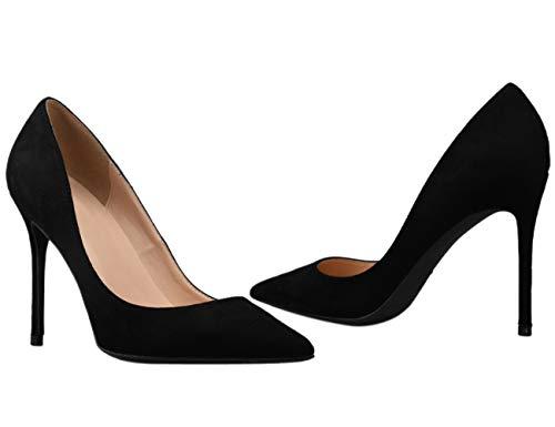 Talon Chaussures Pointu Sexy Suède Noir Soirée Grande Formel Bout Mariage De Classe Taille Femme Escarpin Bigtree Haut 17E4Xn