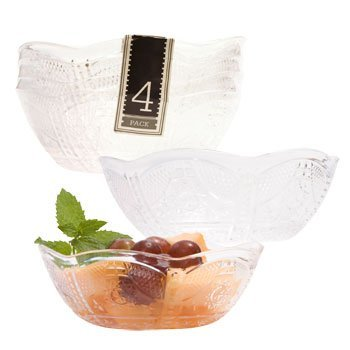 Set of 4 Plastic Scalloped-Edged Bowls, 5 x 2.75 Inches