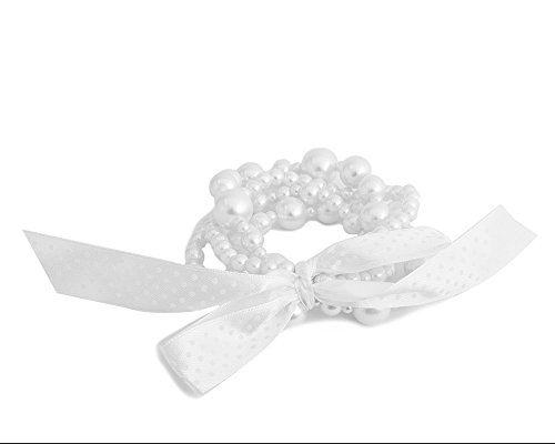 Bracelet Ribbon Pearl Faux (Multi Size and Strand White Luster Pearl Stretch Bracelet - White Faux Pearl Jewelry)