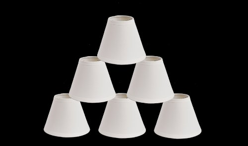 Urbanest 1100324c Mini Chandelier Lamp Shades 6-inch, Cotton, Hardback, Clip On, White (Set of 6) by Urbanest (Image #1)