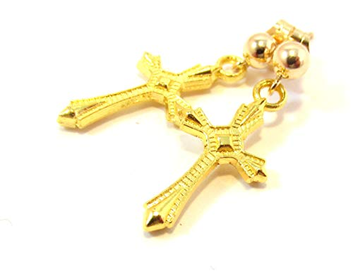- Gold cross post dangle earrings - 14K gf post, gp cross