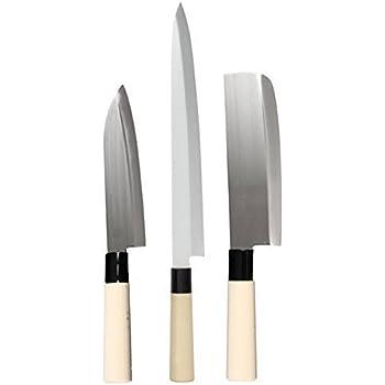 JapanBargain S-1545+1549+1550 Japanese Sushi Chef Knives, Sashimi Santoku Nakiri Knife, Set of 3