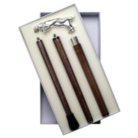 - Walking Cane - Cheetah. Walking Cane with Cheetah Silver Plated Handle and gift boxed. 3 piece solid wood shaft unscrews for storage.