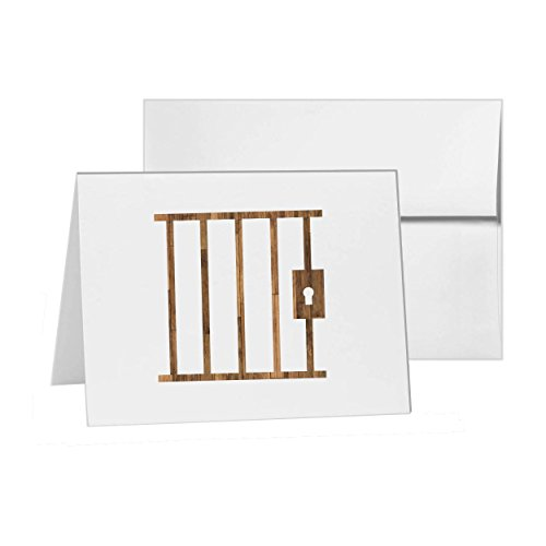 Jail Building Architecture Property Commercial Bars, Blank Card Invitation Pack, 15 cards at 4x6, with White Envelopes, Item - Bar 4 Invitation Folded Card