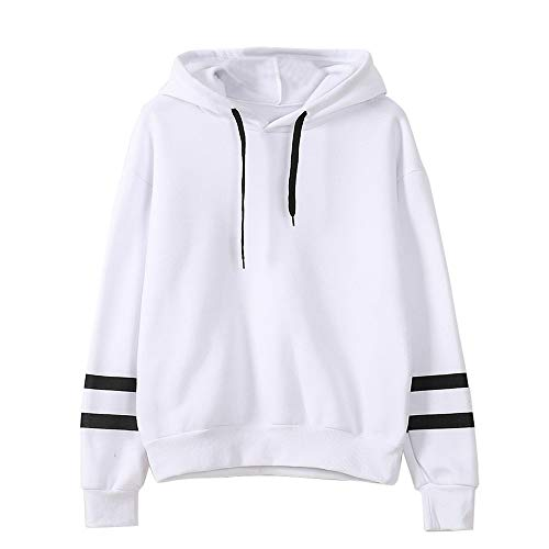 Soluo Women's Casual T-Shirt Long Sleeve Casual Loose Embroidered Drawstring Tshirts Hoody Tops (White,xx-Large)