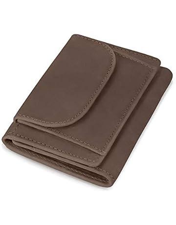 c29c749d3f555 KRONIFY Geldbörse Herren klein mit RFID Schutz und Münzfach aus Büffelleder  Geschenk Geldbeutel Männer Leder Braun
