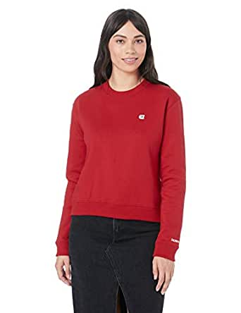 Calvin Klein Jeans Women's Boxy Crew Neck Sweater, Barbados Cherry, XS