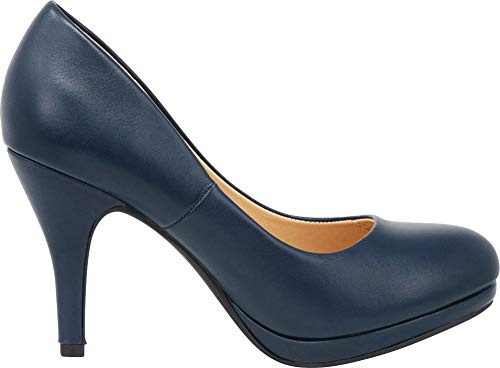 Heel High Round Toe Pu Stiletto Cambridge Navy Select Padded Platform Women's Pump Comfort cBwxxfE8zq