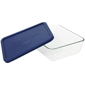 Pyrex COMINHKR067794 6017400 Simply Store 6-Cup Rectangular Bakeware Dish, 6 Box of 2 Containers, Clear; Blue Cover