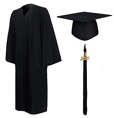 GraduationMall Matte Graduation Gown Cap Tassel Set 2019 for High School and Bachelor