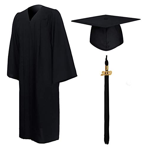 GraduationMall Matte Graduation Gown Cap Tassel Set 2019 for High School and Bachelor Black 45FF(5'0