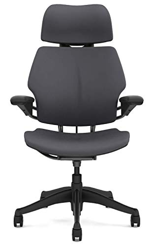 Humanscale Freedom Office Desk Chair with Headrest - F213 Advanced Adjustable Duron Arms - Gel Seat Cushion - F213GV114-G Graphite Frame Light Gray Vellum Fabric - Standard Carpet Casters ()