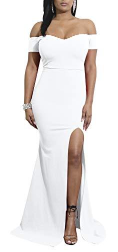 a089c03cfc6e Women s Off Shoulder Side Split Slim Evening Maxi Party Dress White ...