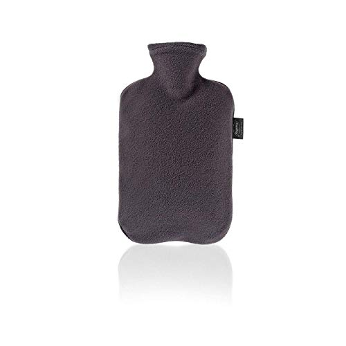 Fashy Hot Water Bottle with Fleece Cover (Anthracite) by Fashy