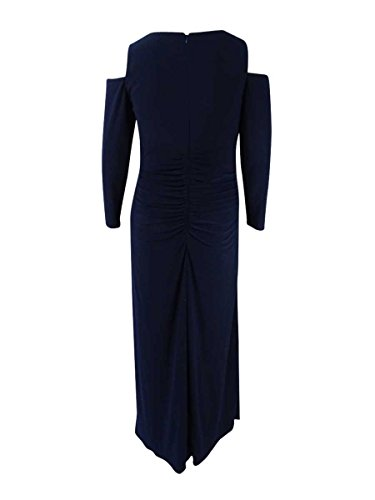 Gown Cold amp; Women's Betsy Shoulder Adam Navy Ruched Plus Size FqS84w8
