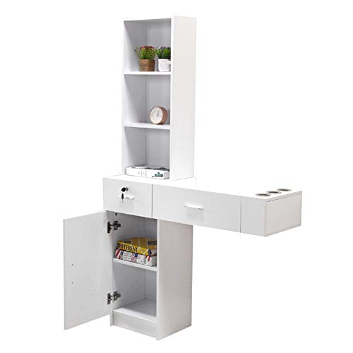 BarberPub Beauty Salon Spa Station Hair Styling Desk Table Salon Shop Furniture Multi-function Desk Wall Mount Storage Cabinet Shelf with 2 drawers 1 big storage at the bottom,3 shelves (white)
