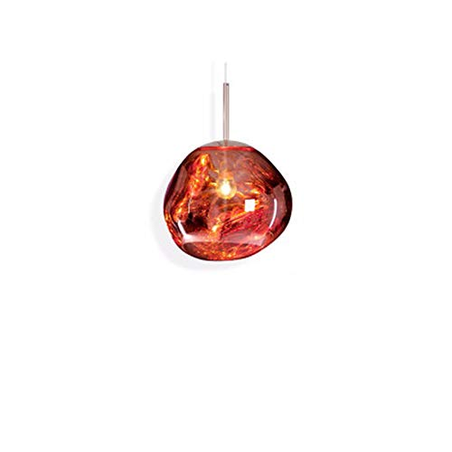 Chrome Lamp Lava (Lava Effect Glass Suspension Light Decoration Restaurant Villa Living Room Bar Ceiling Pendant Lamp Chandelier Hand Blown Glass Finish Electroplated Colored Surface E27 ( Color : Red , Size : D25cm ))