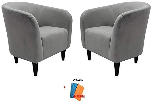 Mainstays Microfiber Tub Accent Chair, 27.50 x 30.50 x 32.00, Dove Gray, Set of 2 + Free Cleaning Cloth