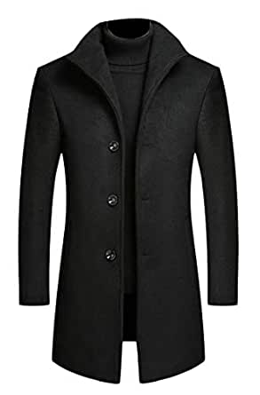 chenshiba-AU Men's Wool Blend Mid Long Single Breasted Formal Winter Trench Coat Black XS