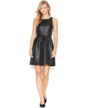 Kensie Womens Black Shiny Jacquard Sleeveless Back Cutout Dress M