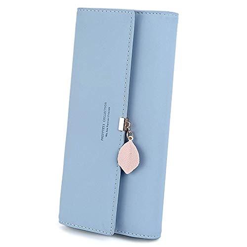 PALAY® Women's PU Leather Long Wallet with Leaf Pendant Card Holders Phone Pocket Girls Zipper Coin Purse (Blue)