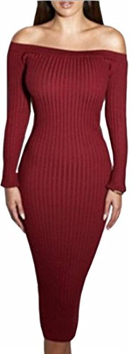 Dress Skinny Pencil Women's Sexy Long Shoulder Knitting Bodycon Red Jaycargogo Off wUSqpngS