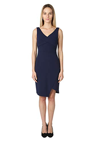 (bebe Women's Sleeveless Twisted Bodice Scuba Crepe Dress with Asymmetrical Hem Navy 4 )