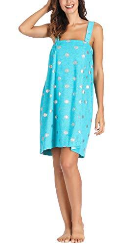 Women Bathrobe Shower Wrap Sting Top Skirt Aqua Blue Silver Polka Dots One Size Fits All Medium