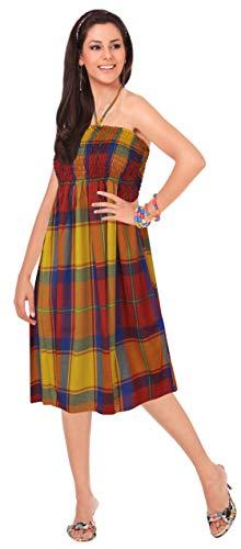 Court Piscine p661 Coton Multicolore Femmes De Robe Leela La Des Fête Tube Chèques qTxvIxwnf